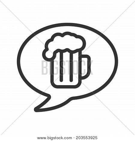 Beer order linear icon. Cheers. Thin line illustration. Chat box with beer glass inside. Contour symbol. Vector isolated outline drawing
