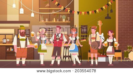 Group Of People Drink Beer In Bar Oktoberfest Party Celebration Man And Woman Wearing Traditional Clothes Fest Concept Flat Vector Illustration