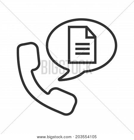 Phone call for instructions linear icon. Thin line illustration. Handset with document inside speech bubble. Contour symbol. Vector isolated outline drawing