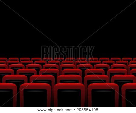 Vector red armchairs on black background. Horizontal theater seamless pattern.