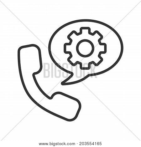 Instructions by phone linear icon. Thin line illustration. Handset with cogwheel inside chat box contour symbol. Vector isolated outline drawing