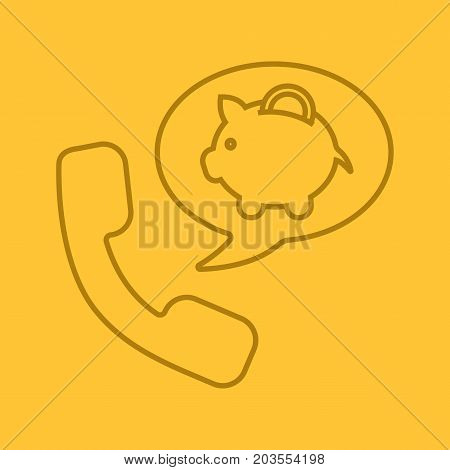 Phone call to bank color linear icon. Handset with piggybank inside speech bubble. Thin line outline symbols on color background. Vector illustration