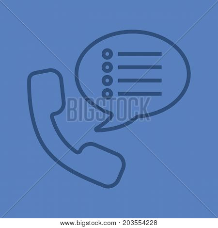 Phone settings color linear icon. Handset with preferences inside speech bubble. Thin line outline symbols on color background. Vector illustration