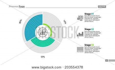 Circle diagram of three stages template. Business data. Graph, chart, design. Creative concept for infographic, report. Can be used for topics like statistics, finances, banking
