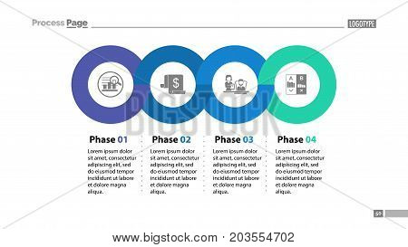 Four phases process template. Business data. Graph, chart, design. Creative concept for infographic, report. Can be used for topics like economics, finances, workflow