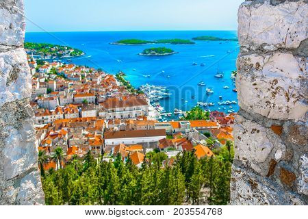 Aerial view at marble scenery in famous tourist summer resort on Island Hvar, Croatia Mediterranean.