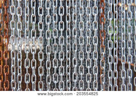 Hanging Stainless Of Chain, Abstract Metal For Background