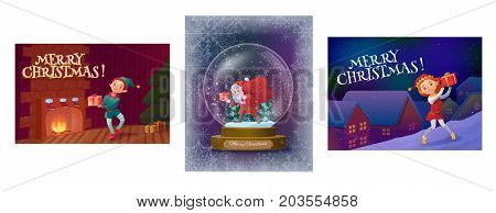 Christmas greeting cards collection with elf boy near fireplace with tree, santa in snowglobe and elf girl on the roof, cartoon characters set, winter holidays background, vector illustration