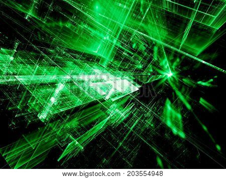 Sci fi or vr green background - abstract computer-generated image. Fractal art: bright lines with perspective and reflections. For web design, covers, posters.
