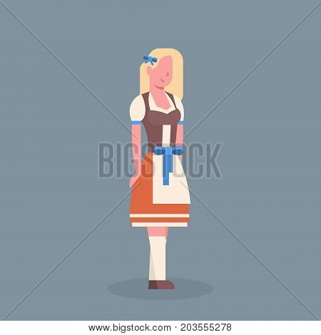 Woman Wearing Traditional German Clothes Oktoberfest Waitress Beer Fest Concept Flat Vector Illustration