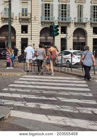 People In Piazza Castello Square In Turin