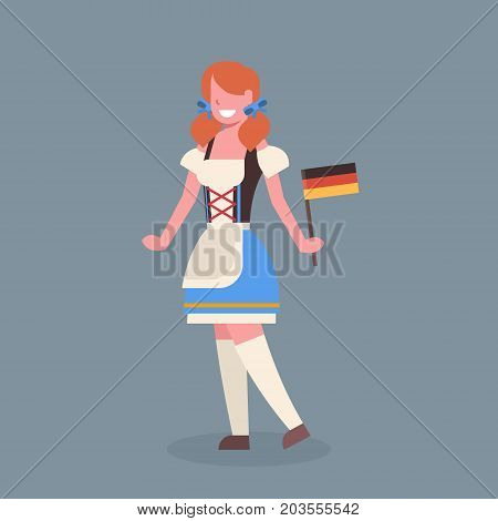 Woman Hold Germany Flag Wearing Traditional German Clothes Oktoberfest Waitress Beer Fest Concept Flat Vector Illustration
