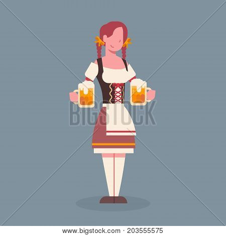 Woman Hold Beer Mug Wearing Traditional German Clothes Oktoberfest Waitress Fest Concept Flat Vector Illustration