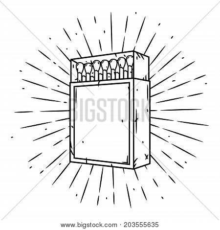 Hand drawn vector illustration with a matches box and divergent rays. Used for poster, banner, web, t-shirt print, bag print, badges, flyer, logo design and more. Matches in a matchbox