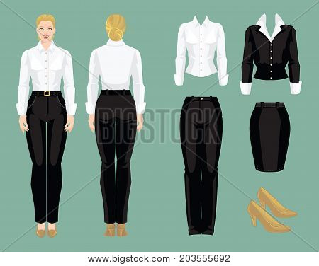 Vector illustration of corporate dress code. Business woman or secretary in formal clothes. Front view and back view. White blouse, black pants, skirt and beige shoes isolated on white background.