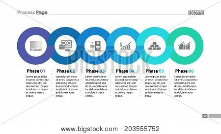 Six phases timeline slide template. Business data. Graph, chart, design. Creative concept for infographic, report. Can be used for topics like money, finances, economics