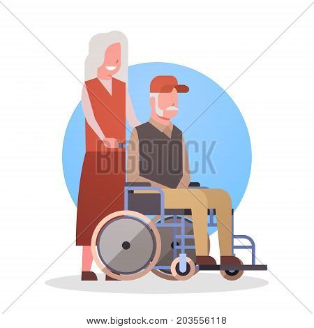 Senior Man On Wheel Chair And Woman Couple Grandmother And Grandfathr Gray Hair Icon Flat Vector Illustration