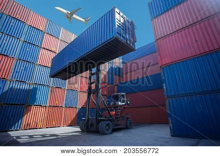 Containers in the port of Laem Chabang in Thailand, Business Logistics concept