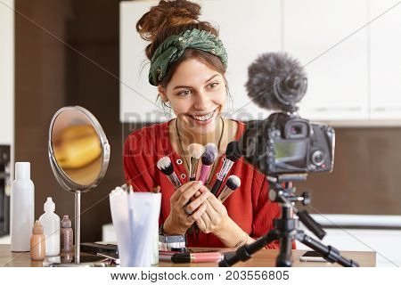 Successful Video Blogger Celebrity Making Another Video Content For Blog In Social Networks, Testing