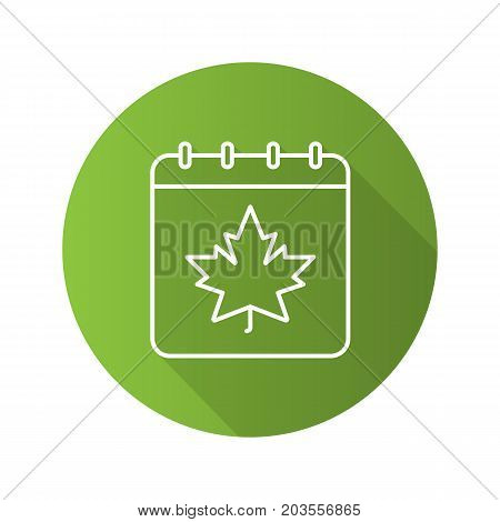 Autumn calendar flat linear long shadow icon. Calendar page with maple leaf. Vector outline symbol