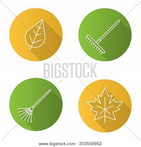 Autumn flat linear long shadow icons set. Rakes, leaves. Vector outline illustration