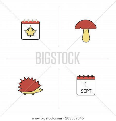 Autumn season color icons set. Calendar page with maple leaf, mushroom, hedgehog, September 1 date. Isolated vector illustrations