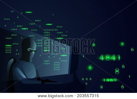 Hacker Man Behind Desktop Computer Night Attack And Data Security Concept Vector Illustration