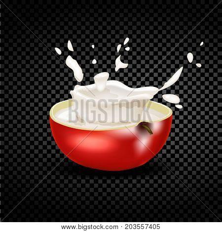 Red apple falling into the milky splash. Vector illustration.