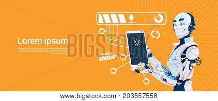 Modern Robot Using Cell Smart Phone, Futuristic Artificial Intelligence Mechanism Technology Flat Vector Illustration