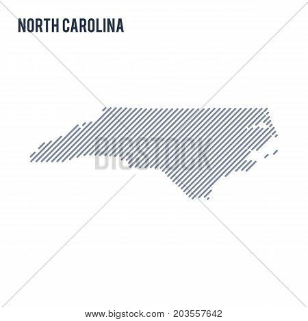 Vector Abstract Hatched Map Of State Of North Carolina With Oblique Lines Isolated On A White Backgr