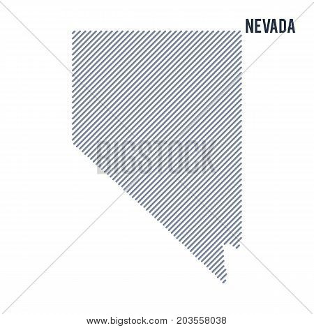 Vector Abstract Hatched Map Of State Of Nevada With Oblique Lines Isolated On A White Background.