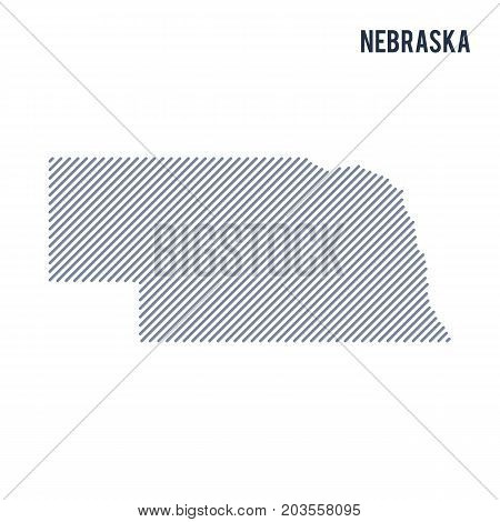 Vector Abstract Hatched Map Of State Of Nebraska With Oblique Lines Isolated On A White Background.