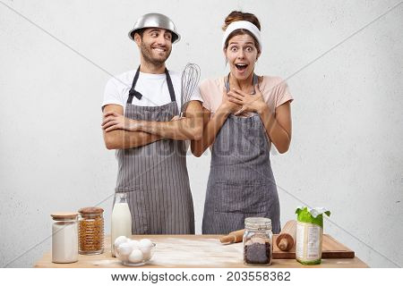 Surprised Female Cooker Not Believing That She Won Culinary Competition, Looking With Great Astonish