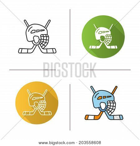Ice hockey equipment icon. Flat design, linear and color styles. Hockey sticks and helmet. Isolated vector illustrations