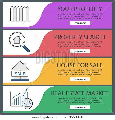 Real estate market web banner templates set. Fence, property search, house for sale, market growth chart. Website color menu items. Vector headers design concepts