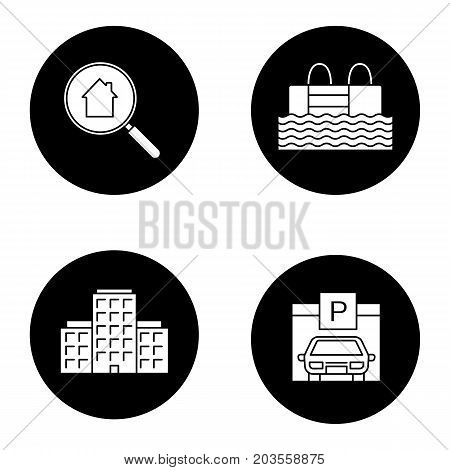 Real estate glyph icons set. Multi-storey building, swimming pool, parking place, real estate search. Vector white silhouettes illustrations in black circles