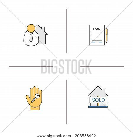 Real estate market color icons set. Broker, hand with key, sold house, loan. Isolated vector illustrations