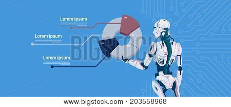 Modern Robot Hold Graphic Diagram, Futuristic Artificial Intelligence Mechanism Technology Flat Vector Illustration