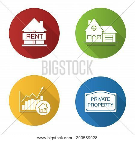 Real estate market flat design long shadow glyph icons set. House for rent, cottage, private property sign, market growth chart. Vector silhouette illustration