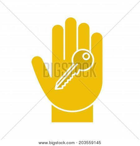 Hand with key glyph color icon. Realty purchase. Private property owner. Silhouette symbol on white background. Negative space. Vector illustration