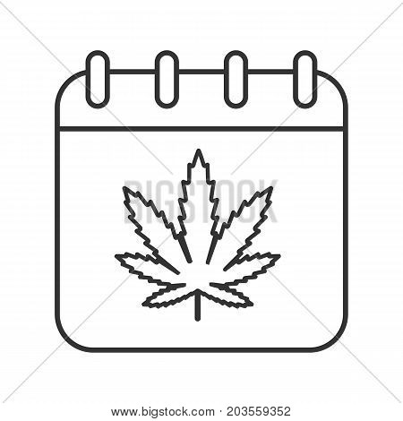 National Weed Day linear icon. Thin line illustration. Calendar page with marijuana leaf contour symbol. Vector isolated outline drawing