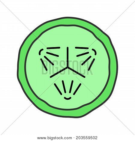 Cucumber slice color icon. Cucumber facial mask. Isolated vector illustration