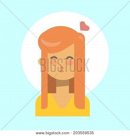 Female Blow Kiss Emotion Profile Icon, Woman Cartoon Portrait Happy Smiling Face Vector Illustration