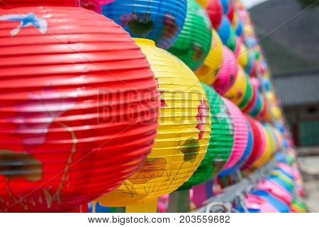 Colorful lantern closeup in buddhist temple Songgwangsa South Korea. 12 april 2017 close to Budda birthday time