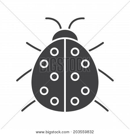 Ladybug glyph icon. Silhouette symbol. Ladybird. Negative space. Vector isolated illustration