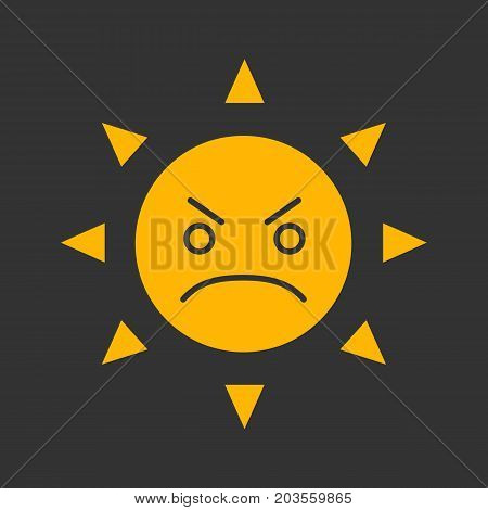 Angry sun smile glyph color icon. Bad mood. Frowned sun face. Silhouette symbol on black background. Negative space. Vector illustration