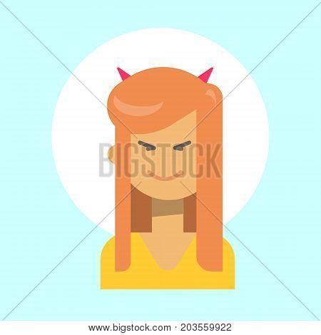 Female With Devil Horns Emotion Profile Icon, Woman Cartoon Portrait Happy Smiling Face Vector Illustration