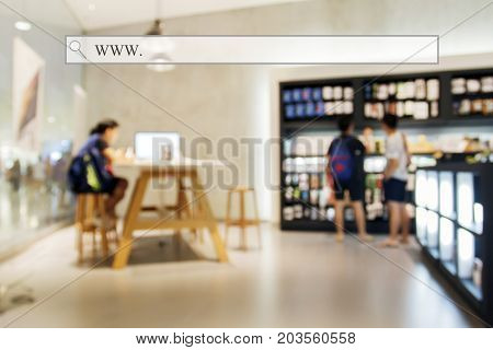 Blurry Of People Walking And Test Mobile Phone Shop At Shopping Center/supermarket/mall With Address