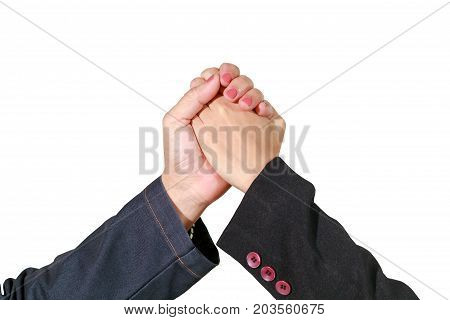 Businesswoman Asian Handshake And Hands Clasped Together Isolate On White With Clipping Path