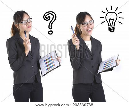 Compare businesswoman get the idea with businesswomen have no idea on pure white background.